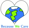Logo of a world in a heart, for Because WE Care blog on becoming a World Class Citizen