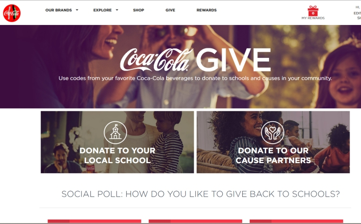 Coca Cola REwards Web Page bannners