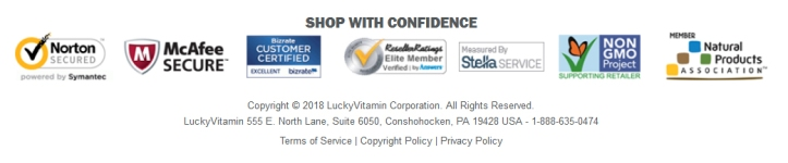 Lucky Vitamin Shop with confidence logos